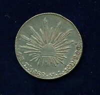 MEXICO  ZACATECAS MINT  1862 ZSVL  4 REALES SILVER COIN  XF/ALMOST UNCIRCULATED