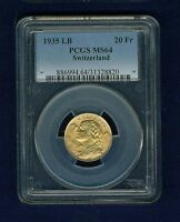 SWITZERLAND REPUBLIC  1935 20 FRANCS GOLD COIN UNCIRCULATED CERTIFIED PCGS MS64