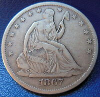 1867 S SEATED LIBERTY HALF DOLLAR FINE TO EXTRA FINE  US COIN 9562