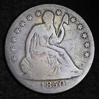 1850 O SEATED LIBERTY HALF DOLLAR CHOICE VG  E351 ET