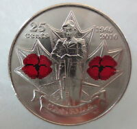 2010 CANADA 25 POPPY COLORED QUARTER UNCIRCULATED FROM MINT ROLL COIN