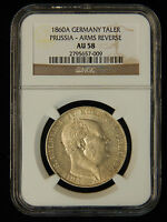 1860A GERMANY TALER PRUSSIA   ARMS REVERSE   NGC AU 58