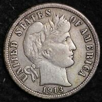1913 BARBER DIME CHOICE XF