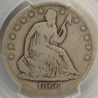 1866 S NO MOTTO SEATED LIBERTY HALF DOLLAR ORIGINAL & PROBLEM FREE PCGS CERT