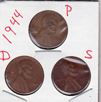1944 P,D,AND S LINCOLN CENTS IN GOOD AND BETTER  CONDITION 3 COINS STK1