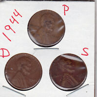 1944 P,D,AND S LINCOLN CENTS IN GOOD AND BETTER  CONDITION 3 COINS STK 99