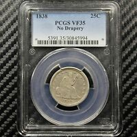 1838 SEATED LIBERTY QUARTER PCGS VF35   NO DRAPERY