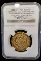 GOLD COIN 1787 BRASHER DOUBLOON RESTRIKE  MINTED AT 2014 CHICAGO ANA NGC