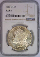 1880 S MORGAN SILVER DOLLAR EARLY SAN FRANCISCO GEM BU $1   NGC MS 65