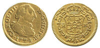 SPANISH GOLD COIN MADRID 1/2 ESCUDO BUST CHARLES III 1774 PJ 4048