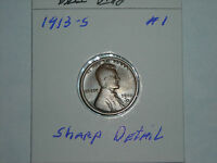 1913S  LINCOLN WHEAT CENT ,  SHARP DETAIL, BROWN  LOT 1