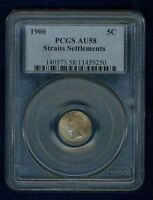STRAITS SETTLEMENTS  1900  5 CENTS SILVER COIN CERTIFIED PCGS AU58