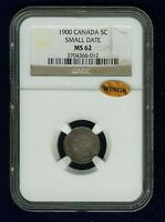 CANADA  VICTORIA  1900  5 CENTS MINT STATE UNCIRCULATED CERTIFIED NGC MS62