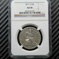 1877 S SEATED LIBERTY HALF DOLLAR NGC AU58   ATTRACTIVE