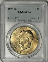1974 D EISENHOWER DOLLAR PCGS MS66