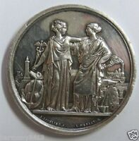 1860 X BANK SILVER MEDAL   ALLEGORY TRADE AND INDUSTRY BY MERLEY & CAVELIER