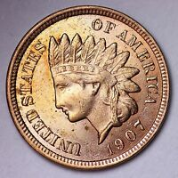 1907 INDIAN HEAD CENT PENNY CHOICE BU  E142 FM