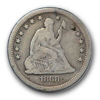 1868 S 25C LIBERTY SEATED QUARTER FINE TO FINE CLEANED R1047