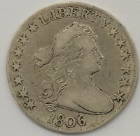 1806 DRAPED BUST HALF DOLLAR - POINTED 6 / NOT THROUGH CLAW A70