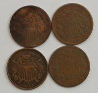 LOT 4 COINS: 1864/1865/1867/1869 TWO CENT PIECES G83