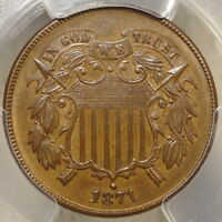 1871 TWO CENTS, PCGS MINT STATE 63, DOUBLED DIE, IN FLYNN & CHERRYPICKERS,