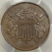 1864 TWO CENTS, SMALL MOTTO, PCGS MINT STATE 63,   WITH COOL COLOR