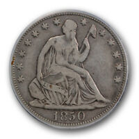 1850 50C LIBERTY SEATED HALF DOLLAR PCGS F 12 FINE PHILADELPHIA MINT TOUGH