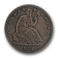 1872 CC CARSON CITY LIBERTY SEATED HALF DOLLAR PCGS VF 20 FINE 50C