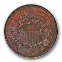 1872 DDO TWO CENT PIECE FS-101 2C NGC MINT STATE 65 RB PRETTY TONED BEAUTY