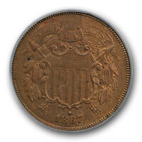 1867 2C DOUBLED DIE OBVERSE TWO CENT PIECE PCGS MINT STATE 63 BN UNCIRCULATED CAC