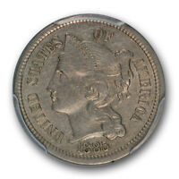 1885 THREE CENT NICKEL PCGS AU 53 ABOUT UNCIRCULATED CAC APPROVED