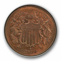 1869 2C TWO CENT PIECE NGC MINT STATE 65 RB UNCIRCULATED RED BROWN CAC APPROVED