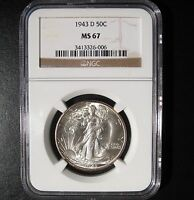 1943-D WALKING LIBERTY HALF DOLLAR NGC MINT STATE 67 - TRACE OF GOLDEN TONING