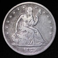 1875 S SEATED LIBERTY HALF DOLLAR CHOICE FINE  E333 HT