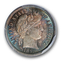 1898 10C BARBER DIME PCGS MS 66 MONSTER TONED SPECTACULAR COIN COLORFUL
