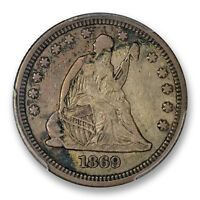 1869 25C LIBERTY SEATED QUARTER PCGS VF 25 CAC APPROVED FINE KEY DATE