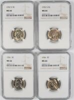 2 1952 S AND 2 1956 JEFFERSON NICKELS NGC MS 66