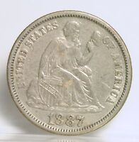1887 LIBERTY SEATED DIME  OLD CLEANING  AU  1700
