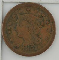 1851 BRAIDED HAIR LARGE CENT Z32