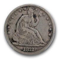 1872 CC 50C LIBERTY SEATED HALF DOLLAR PCGS VF FINE DETAILS CARSON CITY CER