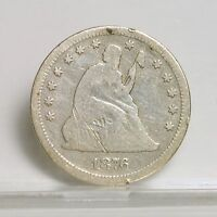 1876 CC LIBERTY SEATED QUARTER  CLEANED  VG  1017