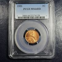1953 LINCOLN CENT PCGS MS66 RD   6129