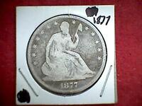 1877 SEATED LIBERTY HALF DOLLAR .900 SILVER