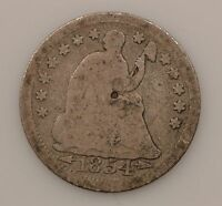1854 P SEATED LIBERTY SILVER HALF DIME G07