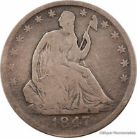 1847 O SEATED LIBERTY HALF DOLLAR 50C LF4589 VG  GOOD