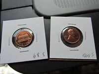 1968 S &1969 S PAIR LINCOLN CENT PROOF PENNY CENT RAINBOW TONE COINS LOT  C40