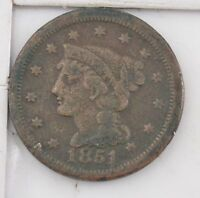 1851 BRAIDED HAIR LARGE CENT Z65