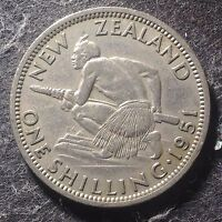 NEW ZEALAND 1951 SHILLING GEORGE VI CROUCHED MAORI WARRIOR / 1774