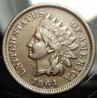 1864 L ON RIBBON INDIAN HEAD CENT   VF