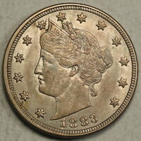 1883 WITH CENTS LIBERTY NICKEL ORIGINAL CHOICE AU COIN  0121 02